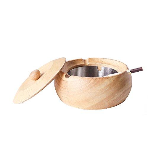 Monsiter Cenicero de madera para cigarrillos con tapa y acero inoxidable para interiores y exteriores