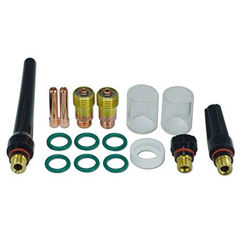 1,6 mm 2,4 mm WIG-Gaslinse 10# Pyrex-Becher Verbrauchsmaterialset für WP SR 17 18 & 26 WIG Schweißbrenner, 16St - Miller Collet