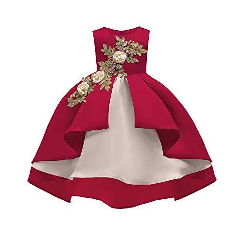 Riou Weihnachten Baby Kleidung Set Kinder Pullover Pyjama Outfits Set Familie Floral Baby Mädchen Prinzessin Brautjungfer Festzug Kleid Geburtstag Party Hochzeitskleid (130, Rot) Tiered Floral Print Rock