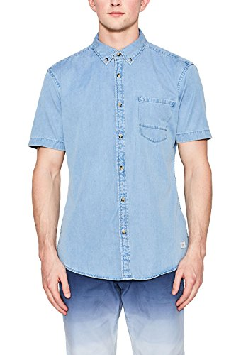 edc by ESPRIT Herren Freizeit Hemd 057cc2f006 Blau (Blue Light Wash 903)
