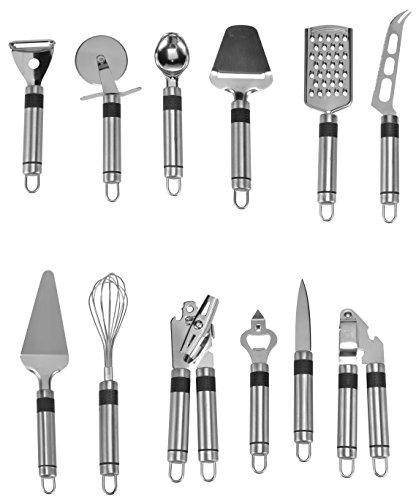 Bambelaa. cucina di set di utensili in acciaio inox lavabile in lavastoviglie con fissaggio a parete–coltello da cucina apriscatole pizza schneider spremiaglio frusta porzionatore per gelato paletta per torta grattugia
