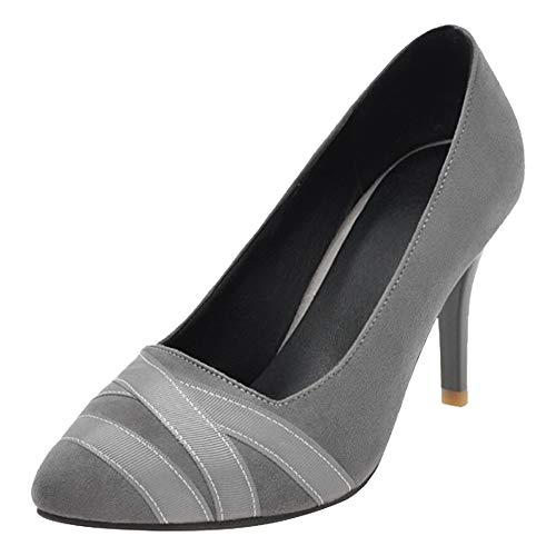 8f9ad680d6fad Mee Shoes Women's Charm Ladies High Heel Slip On Size 2-8 Court Shoes (5,  Grey)