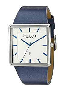 Stuhrling Original Classic Saratoga Men's Quartz Watch with Silver Dial Analogue Display and Blue Leather Strap 342.3315C2