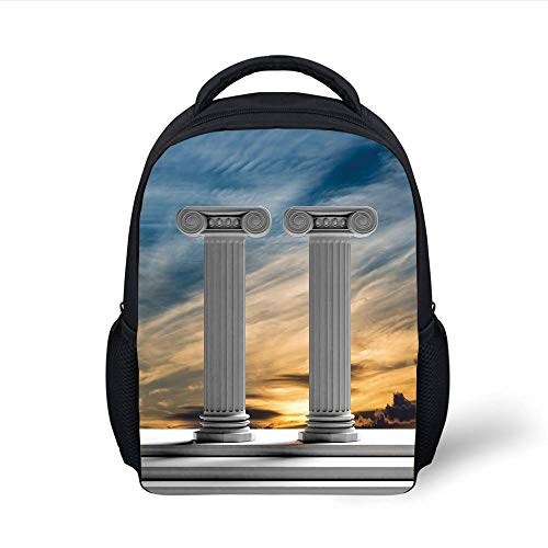 Kids School Backpack Pillar Decor,Two Ancient Marble Pillars at Sunset Clouds in The Sky Digital Image,Blue Light Grey Plain Bookbag Travel Daypack -