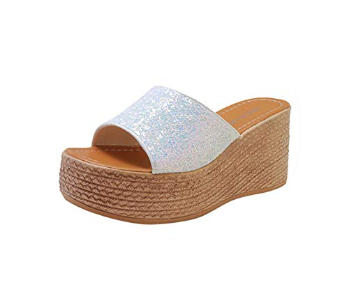 Crystal Studded Sandal (Women's Summer Solid Color Wild Beach Wedges Shoes Slipper Bling and Fashion Lady's Casual High Heel Flip Flops Shoes,White,40)