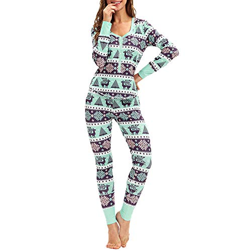 Amphia - Weihnachtsanzug langärmelige Zweiteilige Schlafanzüge mit Knöpfen,Frauen Passende Elch Lange Ärmel Weihnachten Pyjamas Set Top Bluse + Hose(Minzgrün,S/M/L/XL)
