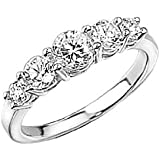 Elements Sterling Silver R2103C 52 Ladies Clear CZ Graduated Ring