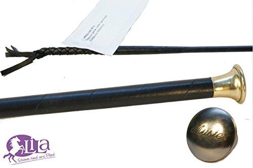 Preisvergleich Produktbild Dressurgerte Döbert schwarz Leder umwickelt mit Namensgravur