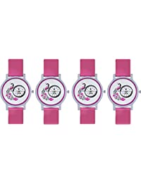 Naksh Fashion Stylish Watch With Fancy Dial And Belt -FOR-women And Girl ( Combo Pack Of 4 )