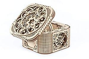 UGEARS Cofre del Tesoro con Llave - Caja Joyero kit modelo mecánico Puzzle de Madera 3D Rompecabezas