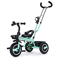 Fascol Kids Tricycle with Detachable Push Handle 3 Wheel Toddlers Children Ride on Pedal Trike Bike 18 Months to 5 Years