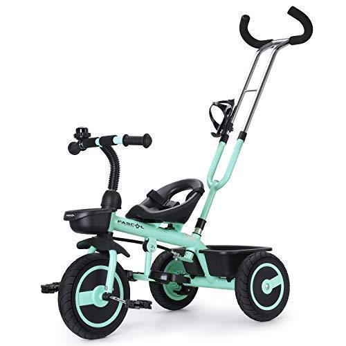 Fascol Kinder Dreirad ab 18 Monate bis 5 Jahre mit Schubstange Doppelte Funktion Trike Baby Kinderwagen Flüsterleise Gummireifen Belastbarkeit bis 30 kg, Hellgrün