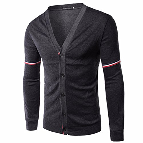 Men's Spring Slim Fit Long Sleeve V Neck Pullovers Casual Sweatshirt Dark Gray