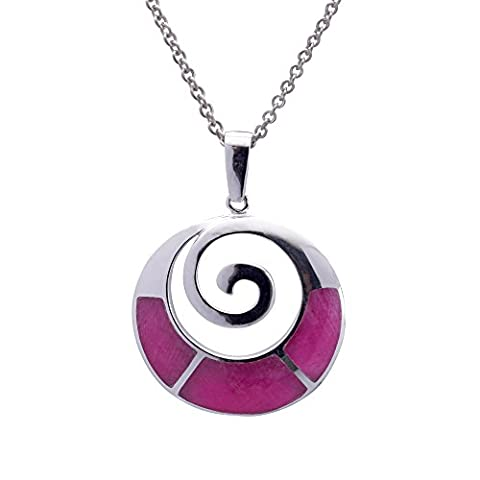 Silverly Women's .925 Sterling Silver Ruby Zoisite Round Spiral Circle Pendant Necklace, 4 6cm
