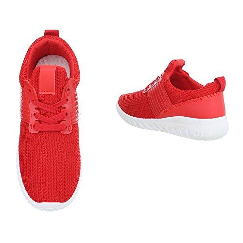 Sneakers Ital-design Basse Sneakers Da Donna Sneakers Basse Lacci Scarpe Casual Rosse An1218