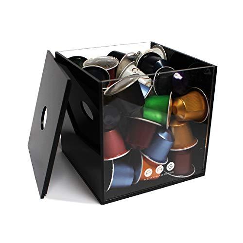 Porta capsule cubo con coperchio nero in plexiglass made in italy 14 cm