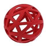 FITYLE Gitterball Hundespielzeug Vollgummi Hund Kauspielzeug Gummiball, Ø 7cm/9cm/12.5cm - Rot - M
