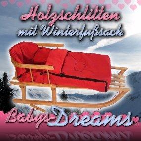 Babys-Dreams *KOMBIPAKET* Holzschlitten mit Rückenlehne + Zugleine + Winterfusssack 108cm ROT aus Fleece für Kinderwagen - POLAR - Lehne -Kinderschlitten - Schlitten aus Holz Kinderschlitten NEU