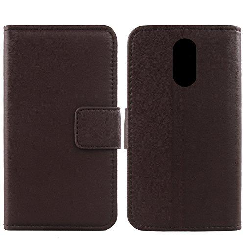 Gukas Design Echt Leder Tasche Für ZTE Nubia NX523J Z11 Max Hülle Lederhülle Handyhülle Handy Flip Brieftasche mit Kartenfächer Schutz Protektiv Genuine Premium Case Cover Etui Skin (Dark Braun)