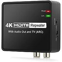 HDMI ARC Audio Extractor 4Kx2K HDMI auf HDMI Optische TOSLINK SPDIF L R Stereo Audio Konverter mit EU Netzteil ARC Funktion PASS/2.0/5.1CH HDMI Audio Splitter Adapter unterstützt Full HD 1080P-Schwarz