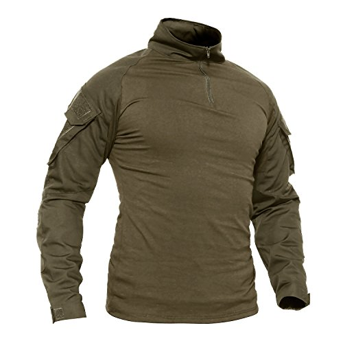 TACVASEN Outdoor Shirt Herren Camping Wandern Hemd Mens Gehen Fishing Hiking Walking T-Shirt Long Sleeve Tshirt Armee Grün Green (Militär Kostüm Schulterklappen)