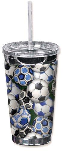 Mugzie 6511-TGC International Soccer Balls To Go Tumbler with Insulated Wetsuit Cover, 16 oz, Black by Mugzie