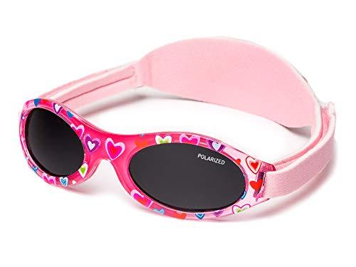 Kiddus Sonnenbrille Baby PREMIUM für Jungen und Mädchen Alter 0 Monate bis 2 Jahre MIT WEICHEM SILIKON, POLARISIERTEN GLÄSERN UND EINSTELLBARER SOFT BAND SUPER KOMFORTABEL 100% UV-Schutz (02 Blumen)