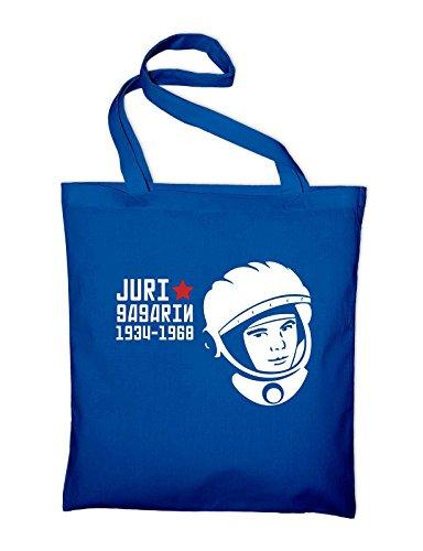 Juri Gagarin Astronaut Kosmonaut Russland Jutebeutel, Beutel, Stoffbeutel, Baumwolltasche, schwarz Royalblau