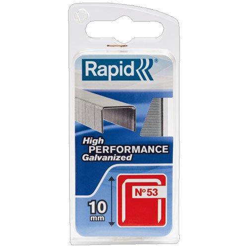 Rapid, 40109504, Agrafes en fil fin N°53, Longueur 10mm, 1080 pièces, Pour le textile et la décoration, Fil galvanisé, Haute performance