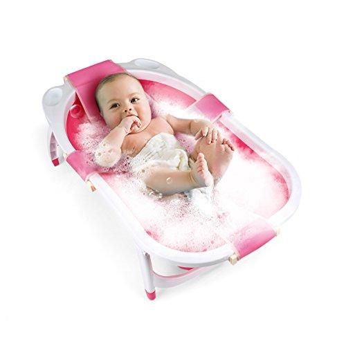 Fascol faltbar kinderbadewanne, Babybadewanne mit Shampoo Gap und Sicherheitsnetz, Baby Pool Länge 80 cm, Pinke (Lange Baby-badewanne Matte)