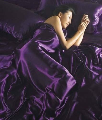 Bettwäsche-Set für Super-King-Size-Betten, Bettbezug/ Spannbetttuch/ 4Kissenbezüge, Satin, lila