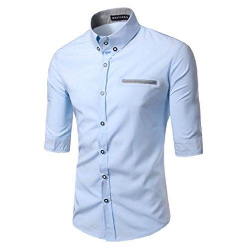 Men's Fashion Middle Sleeved Slim Fit Shirts Lt Blue