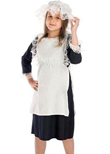Mädchen Arme Viktorianisch Bauer Dienstmagd Büchertag Kostüm Kleid Outfit 4-12 years - Schwarz/weiß, 6-8 Years