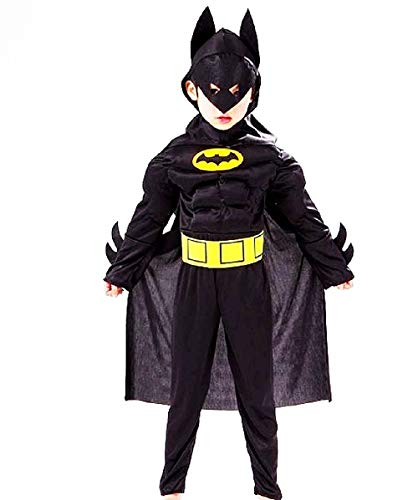 - 6-7 Jahre - Superheld-Kostüm und Maske - Muskulöser Busen - Batman - Bat Man für Kinder verkleiden Karneval Halloween Cosplay Zubehör ()