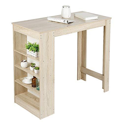 MUPAI Bartisch Beistelltisch Stehtisch Küchentheke Küchenbartisch mit 4 Regalfächern Trese 115 * 50 * 103CM (Eiche Farbe, 115 * 50 * 103CM)