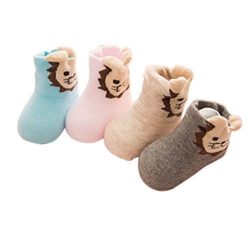 VWU Säugling Cartoon Anti Rutsch Baumwolle Socken Erstlingssöckchen Kleinkind Slipper Schuhe 4er Pack (6-12 Monate, Löwe)