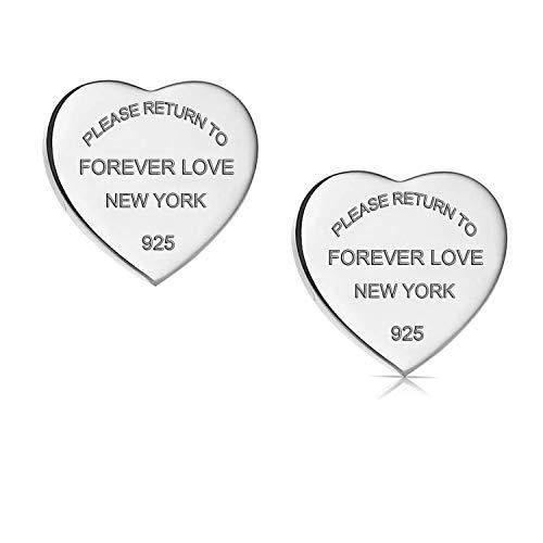 Orecchini a forma di cuore 'Forever Love' in acciaio al titanio e Acciaio inossidabile, colore: Silver, cod. ForeverLoveEarringsSilver