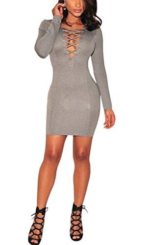 SunIfSnow - Robe spécial grossesse - Moulante - Uni - Manches Longues - Femme Gris