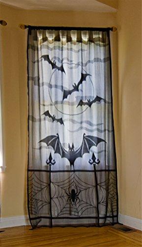 ODN Halloween Spinnennetz Vorhänge Deko Türvorhang Tür Tisch Fenster Dekoration (Halloween Tür Dekoration)