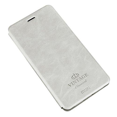 iPhone X Coque - Retro Série PU Cuir Etui Flip Folio Protection Couverture Case, TPU Intérieure Housse Moelleux [Fente pour Carte] pour iPhone X - Brun Blanc