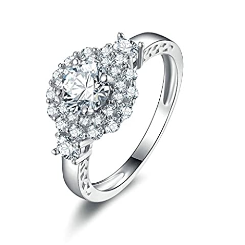 Daesar Sterling Silver Rings Womens Engagement Rings Promise Custom Ring Big Round CZ Ring Size:V 1/2