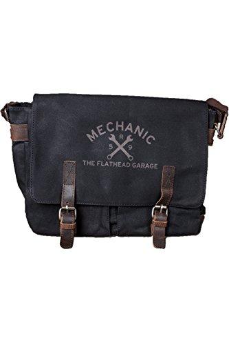 Rumble59 - Canvas Workerbag - The Flathead Garage - schwarz (Klassischen Bowling-shirt Weiß)
