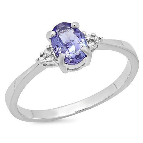 erling Silber Diamant weiß oval Tansanit & rund Bridal Versprechen Engagement Ring ()