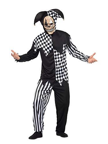 Smiffys Herren Böser Hofnarr Kostüm, Oberteil, Hose, Kopfteil und Latex Maske, Größe: XL, ()