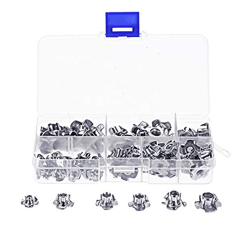TuToy 80Pcs Zink Plated Steel T-Nut 4 Pronged Tee Blind Insert Nuts Assortment M3/M4/M6/M8