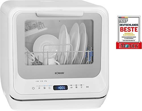 Bomann TSG 7402 Mini Lave-Vaisselle avec écran LED, réservoir d'eau intégré 5 litres, 5 programmes + Fonction supplémentaire, 2 pulvérisateurs, température de Nettoyage 45°C - 70°C, Blanc