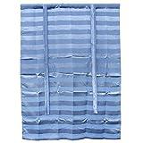 Vosarea Blaue Gestreifte Gardinen für Badezimmer Schlafzimmer 117 x 160cm