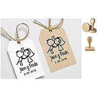 Sello y porta alianzas personalizado para boda. Incluye almohadilla.