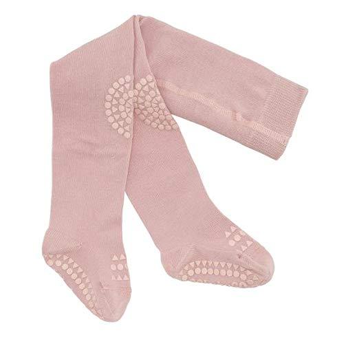 GoBabyGo Original Rutschfeste Baby Krabbel Strumpfhose | ABS Non-Slip Unterstützung Für Aktive Kinder Im Krabbelalter | Baumwollstretch | 6-12M (74-80cm) | Dusty Rose Rutschfeste Non-slip