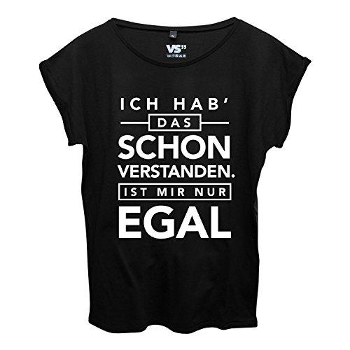 VISUAL STATEMENTS Frauen Shirt mit Spruch/Viele Verschiedene Sprüche, Farben und Größen zur Auswahl EGAL - SCHWARZ
